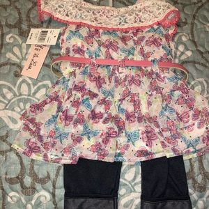 Little Lass Matching Sets - Butterfly 2-piece outfit size 2T NWT